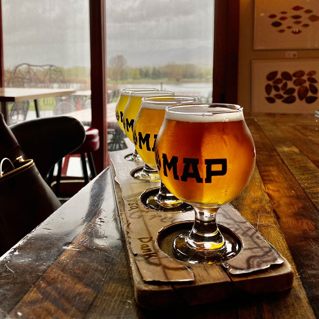 map brewing beer flight photo from Williams Homes in Bozeman